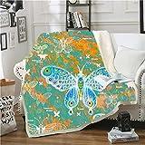BEDSERG Tirar Las Mantas Gruesas para Adultos niños Mariposa Verde Manta Polar Super Suave Colcha Sherpa Manta para la Cama y sofá 150x200cm