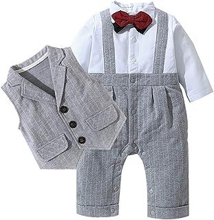 Fairy Baby Infant Baby Boys Outfit 3pc Clothes Set Formal Tuxedo Stripe Romper+Vest Suit
