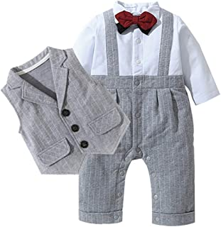 Fairy Baby Infant Baby Boys Outfit 3pc Clothes Set Formal Tuxedo Stripe Romper+Vest Suit