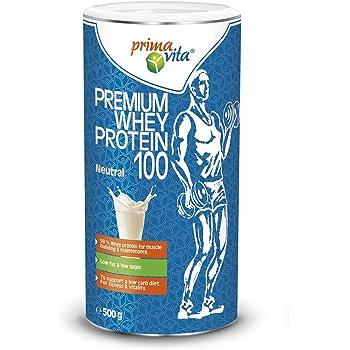 Primavita - Premium Whey Protein 100, integratore proteico con 98% proteine del siero del latte, basso contenuto di zuccheri e grassi, gusto neutro, 500 g, 20 porzioni
