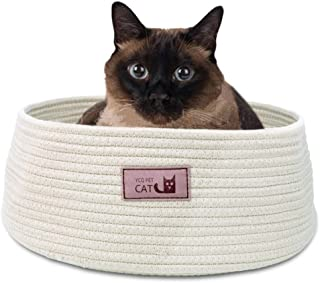 Round Cat Bed Basket Nest Cotton Rope Woven Warm Medium Pet Sleeping Bed House Nesting Rest Cute Fun Scratcher Scratching Scratch Mat Pad Puppy Small Dogs Indoor Play Eco Washable Winter Summer Beige