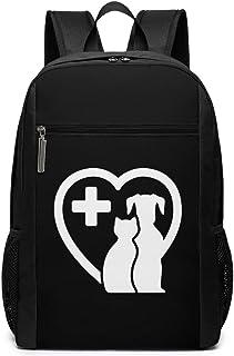 Perro y Gato en Silueta de corazón para Veterinaria - Mochila de Negocios de 17 Pulgadas para niños y niñas (Negro)