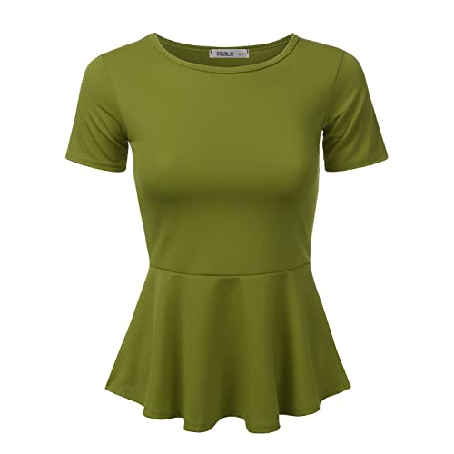 dc875ae1a8b Doublju Stretchy Flare Peplum Blouse Tops for Women with Plus Size