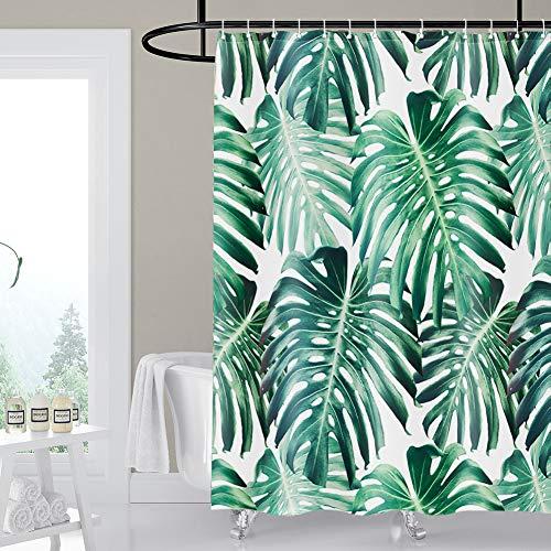 Artscope Duschvorhänge, Duschvorhang Anti-Schimmel, Badvorhang Wasserdicht Antibakteriell Duschvorhang aus Polyester Badezimmer Vorhänge mit 12 Duschvorhangringen, 180x180 cm (Grüne Blätter)