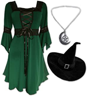 Dare to Wear Magick Witch Costume: Velvet Hat, Pentagram Pendant, and Timeless Victorian Gothic Women's Renaissance Dress