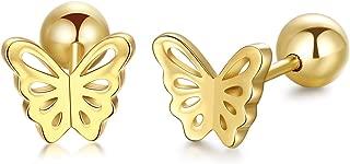 14k Gold Butterfly Stud Earrings for Women Screw Back, Real Gold Post Earrings