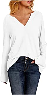 Lataw Women's Shirts Ladies Tops Fashion Deep V-Neck Knit Sweater Solid Color Long Sleeve Loose Soft Work Plain Tee Girls Blouses