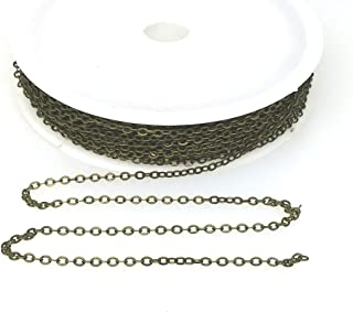 BeadsAndCrafts 32 Feet Pack, 7 Colors Available, Small Link Chain 2.1x1.7mm Dangling Chain, Bronze Plated Brass