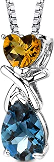 Citrine and London Blue Topaz Necklace in Sterling Silver, Designer Crisscross Heart and Pear Shape Pendant, 3 Carats total with 18 inch Chain