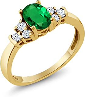 0.64 Ct Oval Green Nano Emerald White Topaz 925 Yellow Gold Plated Silver Ring