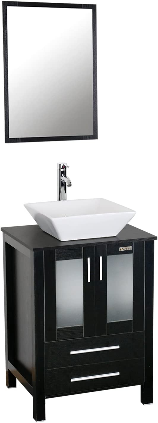 Buy Eclife 24 Modern Bathroom Vanity Sink Combo Units Cabinet And Sink Stand Pedestal With White Square Ceramic Vessel Sink With Chrome Bathroom Solid Brass Faucet And Pop Up Drain Combo A07b02
