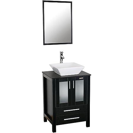 Eclife 24 Bathroom Vanity Sink Combo W Overflow White Drop In Ceramic Vessel Sink Top Black Mdf Modern Bathroom Cabinet Chrome Solid Brass Faucet Pop Up Drain W Mirror A08b07