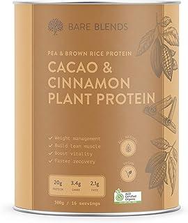 Bare Blends - Cacao & Cinnamon Plant Protein | Vegan Protein Powder | Certified Organic | Gluten Free | 500g