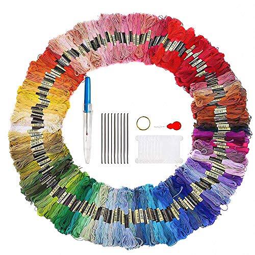 Hilos de Bordar 200 Madejas Colores Azar Hilos de Bordado Hilo de Punto de Cruz con 5 Herramientas de Bricolaje Hacer Pulseras de Amistad