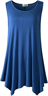 LARACE Lanmo Women Plus Size Solid Basic Flowy Tank Tops Summer Sleeveless Tunic (1X, Steel Blue)