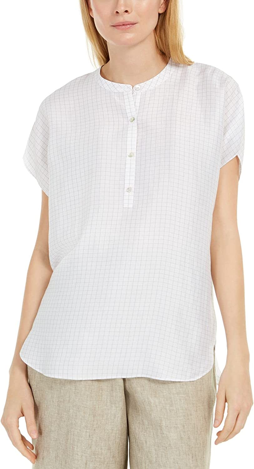 Eileen Fisher Women's Check Washed Silk Top, Size
