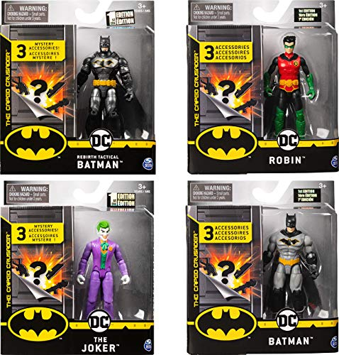 DC Comics BATMAN, 4-Inch Action Figures with 3 Mystery Accessories (Styles Vary)