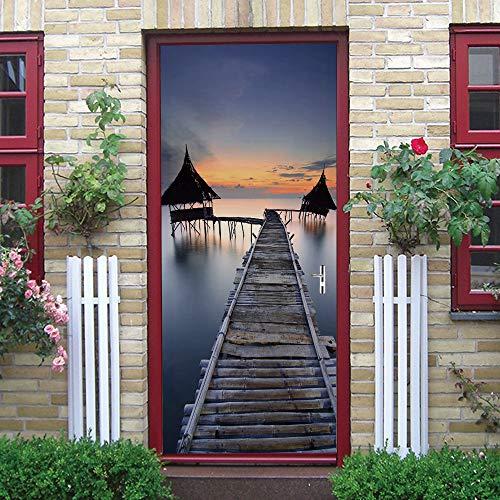Puerta Pegatinas Mural Mar Ruinoso Puente de Madera Casita Con Techo de Paja Al Atardecer Papel Pintado Arte Decoración del hogar 86x200cm
