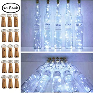 15 Pack 15 LED Wine Bottle Cork Lights, Mini Fairy String Lights Copper Wire, Battery Operated Starry Lights for DIY, Festival, Wedding, Party, Indoor, Outdoor Decoration (Warm White)