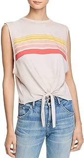 Womens Tie-Front Stripe Tank Top