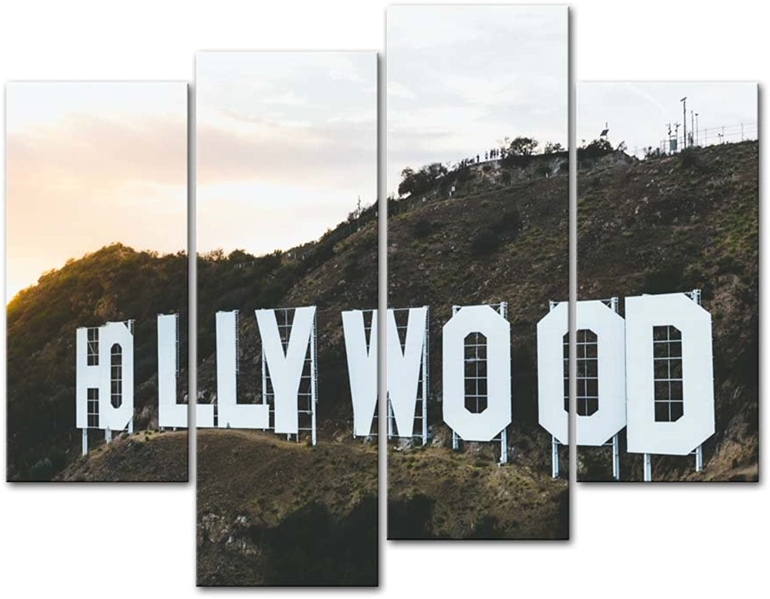 Canvas Print Wall Art Decor Hollywood Picture Place Name Letter On Hill Pictures Landscape Artwork USA City Poster Prints Stretched On Wooden Frame 4 Panel Image For Home Living Room Office Decoration