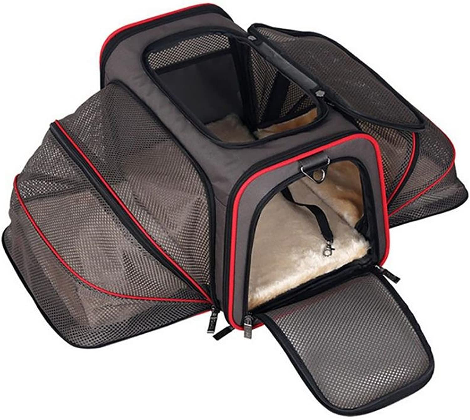 D&F Expandable Soft Sided Pet Carrier for Cats and Dogs, Black   Folding for Easy Transport   For Air or Car Travel (Medium  46cm X 28cm X 28cm)
