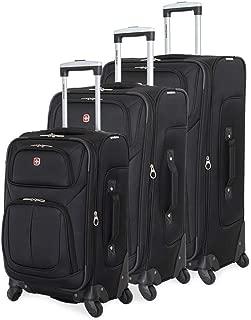 6283 Amazon Exclusive 3pc Spinner Luggage Set with Dopp Kit Bundle Black