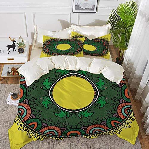 ropa de cama - Juego de funda nórdica, Mandala amarilla, Mandala en forma de anillo en estilo infantil con Forest and Foxes Nature Doodl, Juego de funda nórdica de microfibra hipoalergénica con 2 fund
