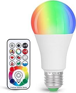 Sunnest 120 Colors LED Light Bulb, Dimmable E26 LED Light Bulb, 10W RGBW Color Changing Light Bulb with Remote Control, De...