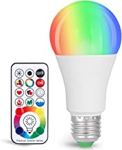 Sunnest 120 Colors LED Light Bulb, Dimmable E26 LED Light Bulb, 10W RGBW Color Changing Light Bulb with Remote Control, De...