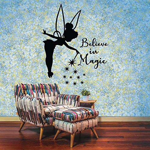 Believe In Magic Tinkerbell Little Fairy Pixie Dust Tinkerbell Disney Movie Character Tinkerbell Silhouette Vinyl Wall Art Sticker DecorationFor Home Kids Baby Girls Childrens Room Size (10x10 inch)