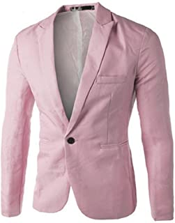 Funnygals Mens Slim Fit Casual One Button Suits Coat Solid Blazer Business Wedding Party Prom Jacket