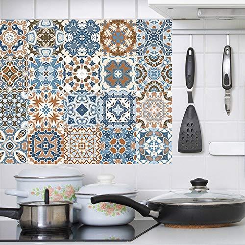 BLOUR Pegatina de Pared de Mosaico Retro, azulejo de baño, línea de Cintura, Pegatina de Pared, Adhesivo de Cocina, Inodoro, Impermeable, PVC, Vinilo, calcomanía de Pared