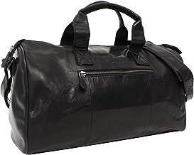 Gusti Reisetasche Leder - Hall Sporttasche Boardtasche Umhängetasche Schultertasche Riementasche Ledertasche Reisegepäck Handgepäck Schwarz Leder