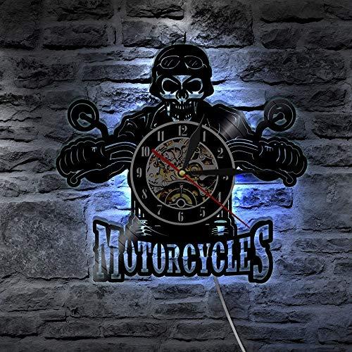 FANCYLIFE Motorrad Biker Classic King Skull LED Licht Farbwechsel Vinyl Wanduhr