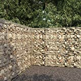 vidaXL Gabion Wall with Cover Sound Insulation and Privacy Retaining Wall Gabion Stone Basket Cage Fence Galvanised Steel 300x50x200cm