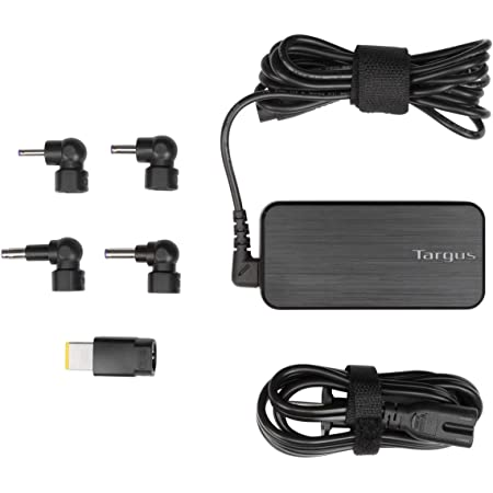 Targus 65W AC Ultra-Slim Universal Laptop Charger with 6-Foot Cable, Includes 5 Power Tips Compatible with Major Brands: Acer, ASUS, HP, Compaq, Lenovo, Samsung (APA92US)