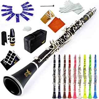 ROFFEE clarinet beginner student level 26N B flat ABS nickel plated 17 keys Bb tone with 2 berrels,case,10 reeds,mouthpiece and more