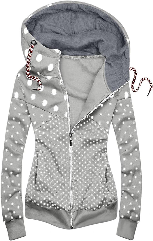 Hoodies for Women Pullover,Women Drawstring Sweatshirts Dot Printed Zipper Long Sleeve Oversized Hooded Tops Coat