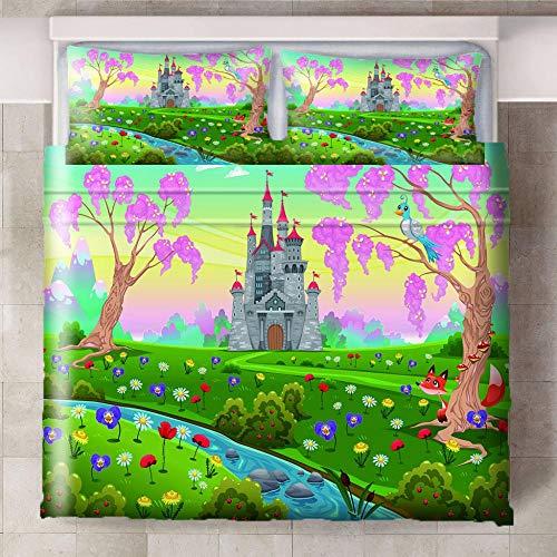 CQIIKJ Juego de Cama Impreso en 3D,Castillo de Flor de Dibujos Animados Verde Amarillo Rosa Gris Funda de edredón de Microfibra con Cierre de Cremallera, 2 Fundas de Almohada260x220cm