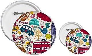Kit de création de boutons et badges Motif Tour de bus Royaume-Uni Big Ben
