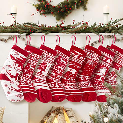 KD KIDPAR 8 Pack 20' Knit Christmas Stockings, Large Rustic Yarn Xmas Stockings for Family Holiday Decorations