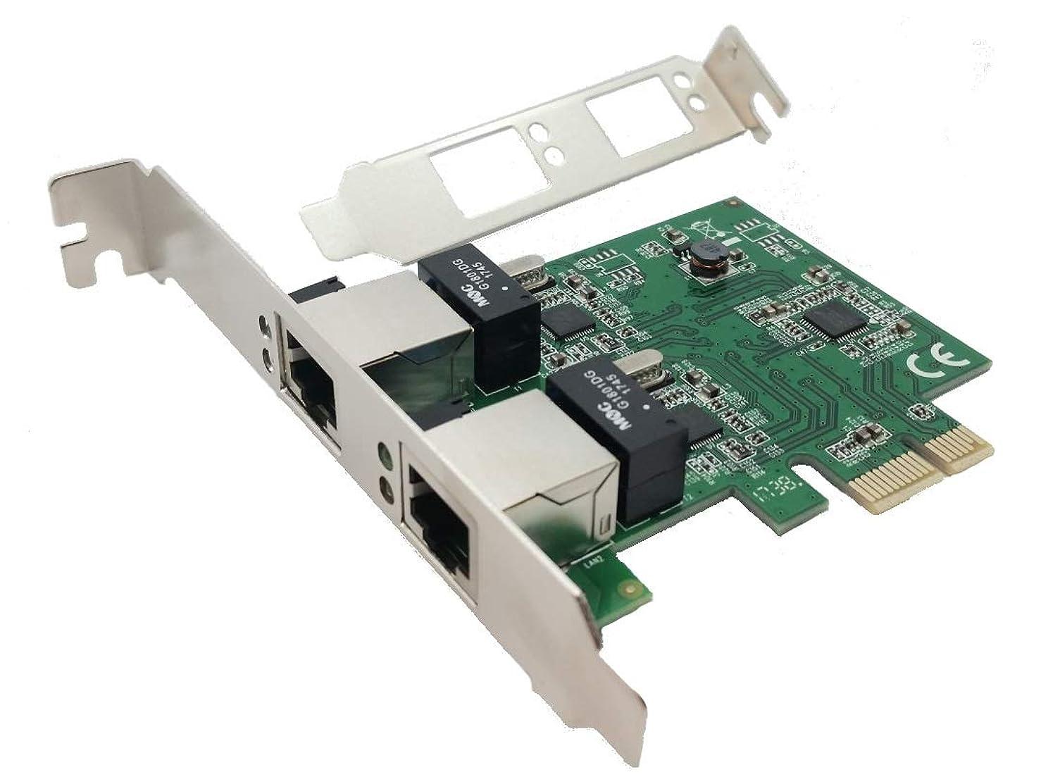 代表して肺炎機関車Tenext デュアルイーサネット LANポート PCI Express x1 ネットワークカード Realtek RTL8111 チップセットとロープロファイルブラケット付き