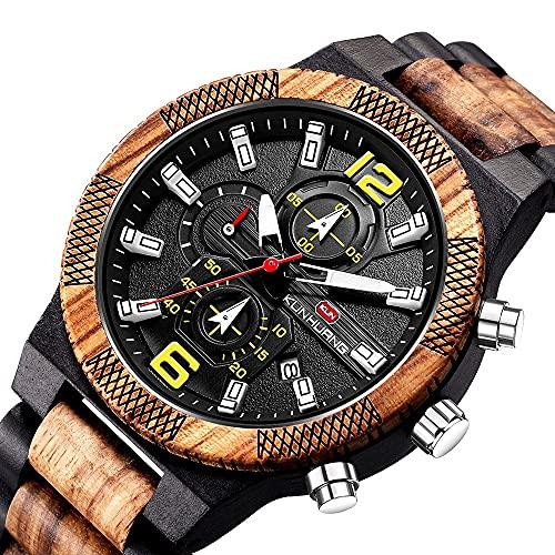 yuyan Reloj deportivo para hombre, diseño de cebra de madera, ébano, creativo, casual, cómodo y transpirable, el A+