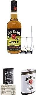 Jim Beam APPLE Whiskey 0,7 Liter  2 Glencairn Gläser und Einwegpipette  Jack Daniels Malt Whisky Fudge in Blechdose 300g  Jim Beam Malt Whisky Fudge in Blechdose 300g