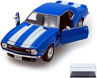 Welly Diecast Car & Display Case Package - 1968 Chevy Camaro Z/28, Blue 22448 - 1/24 Scale Diecast Model Toy Car w/Display Case