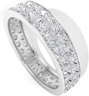 JAJAFOOK Lady Girl Womens 2 pcs 925 Sterling Silver Plated Pink Cubic Zirconia Wedding Ring Set