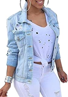 f0e7a076bade9 Oberora Womens Plus Size Ripped Buttons Casual Denim Jackets Coats