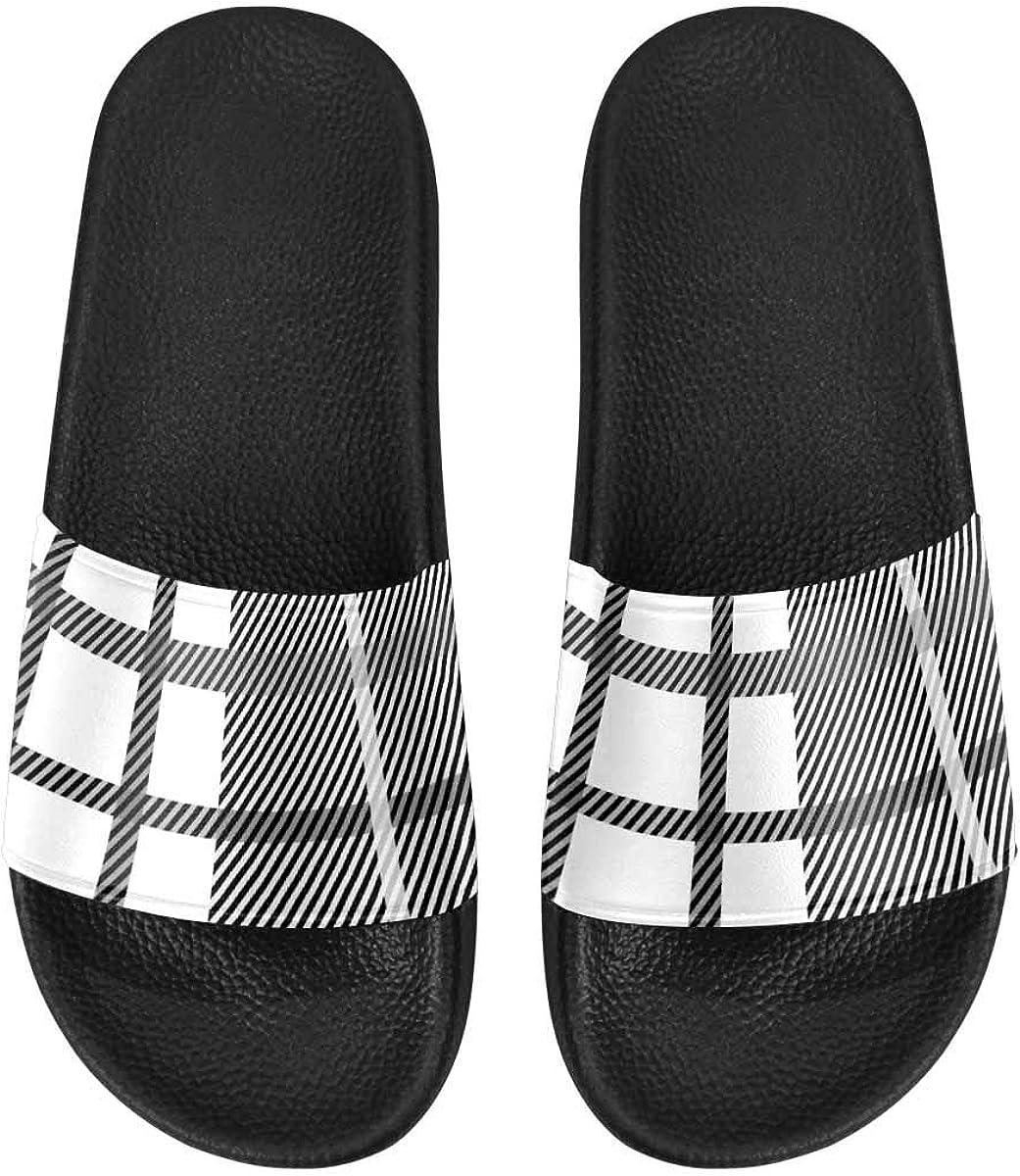 InterestPrint Indoor Stylish Sandals Slides for Women Pink Zigzag Pattern