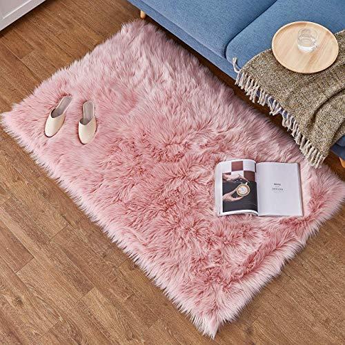 HEQUN Faux Lammfell Schaffell Teppich, Kunstfell Dekofell Lammfellimitat Teppich Longhair Fell Nachahmung Wolle Bettvorleger Sofa Matte (Rosa, 180 X 80 cm)